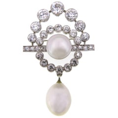 Art Deco Baroque South Sea Pearl Diamond Platinum Brooch Pendant