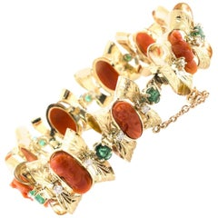 Rubrum Coral Diamonds Emeralds Rose Gold Elegant Bracelet