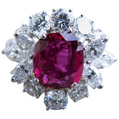 GIA Certified 2.23 Carat No Heat Cushion Cut Siam Red Ruby Ballerina Ring