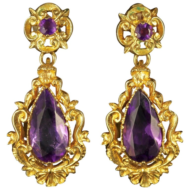 Antique Victorian 18 Carat Gold Amethyst Drop Earrings, circa 1900