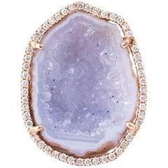 Karolin White Agate Geode White Diamond Rose God Cocktail Ring