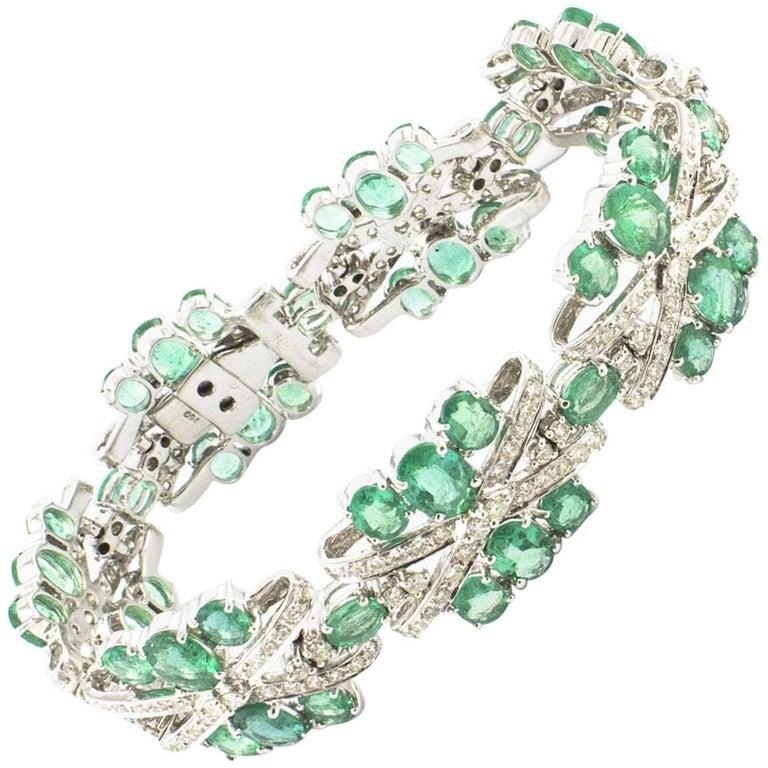 Diamonds Emeralds White Gold Bracelet