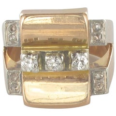 1950's Geometric Retro 18 Karat Gold Diamond Signet Ring