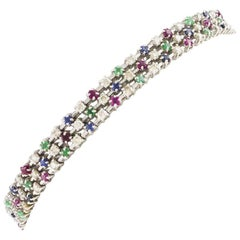 Diamond Sapphire Ruby Emerald White Gold Bracelet