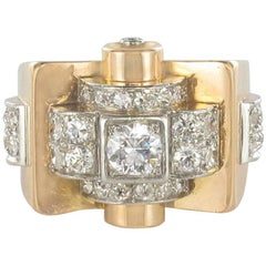 1950's Brillant Cut Diamond Platinium Yellow Gold Tank Ring