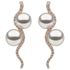 Yoko London Pearl and Diamond Drop Earrings in 18K Yellow Gold