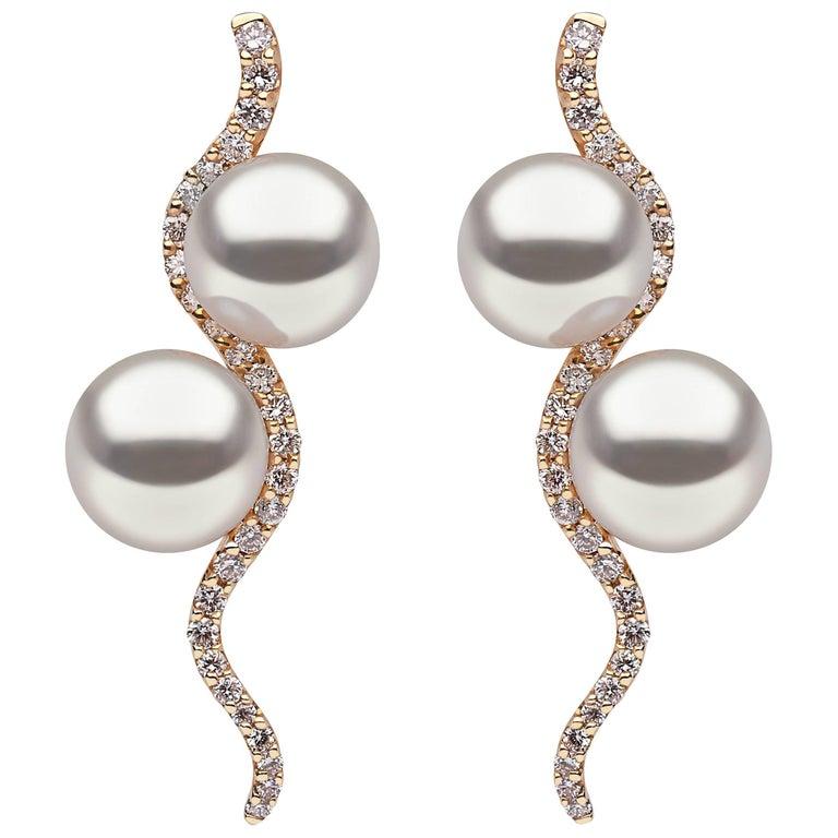 Yoko London Pearl and Diamond Drop Earrings in 18K Yellow Gold