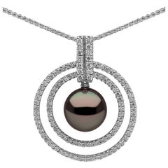 Tahitian Pearl Pendant in White Gold with White Diamonds