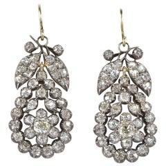 Antique 6.90 Carat Mine Cut Diamond Rare Earrings