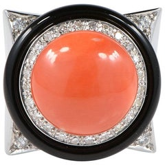 Vintage Diamond Onyx Salmon Coral Ring