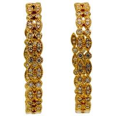 18 Karat Yellow Gold 3.00 Carat Diamond Double Hoop Earrings