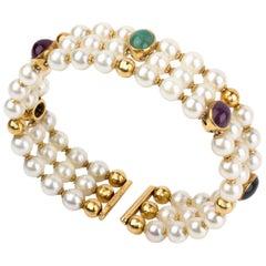 Pearl and Gemstone Bracelet, Signed Legi