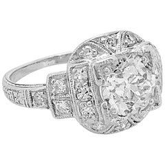115 carat diamond antique platinum engagement ring - 1920s Wedding Rings