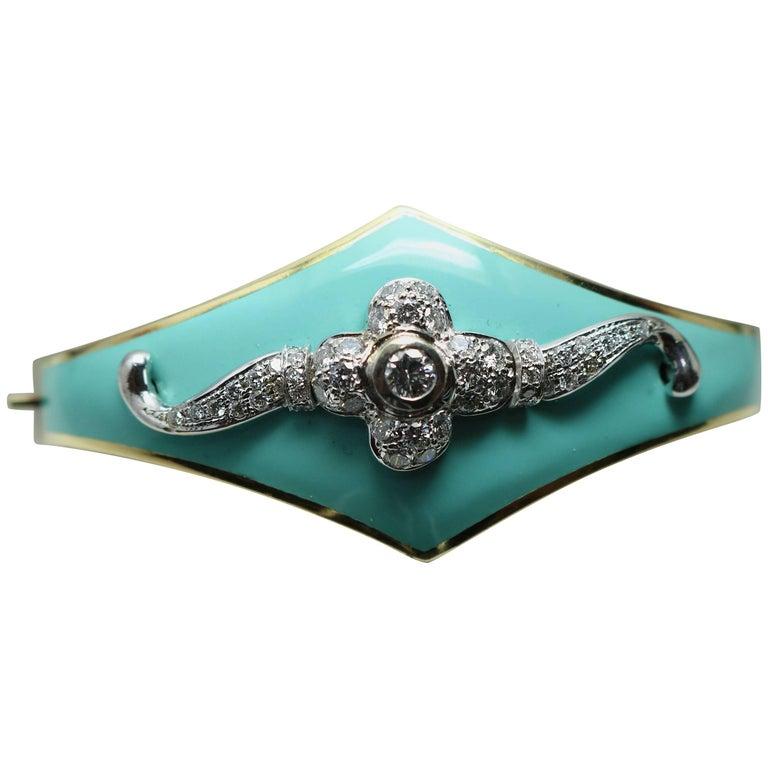 Enamel Bangle with Diamond Section