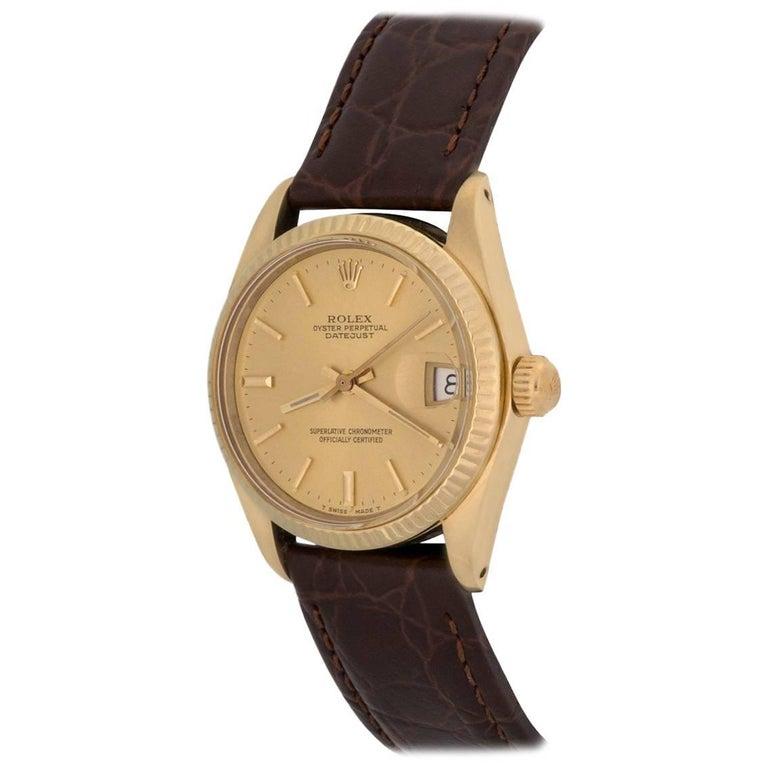 Rolex Yellow Gold Datejust Midsize Automatic Wristwatch Ref 6827