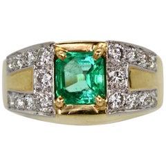 David Webb Emerald Diamond Ring 18 Karat
