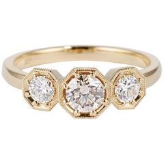 Cushla Whiting Gold Champagne Round White Diamond Engagement Ring