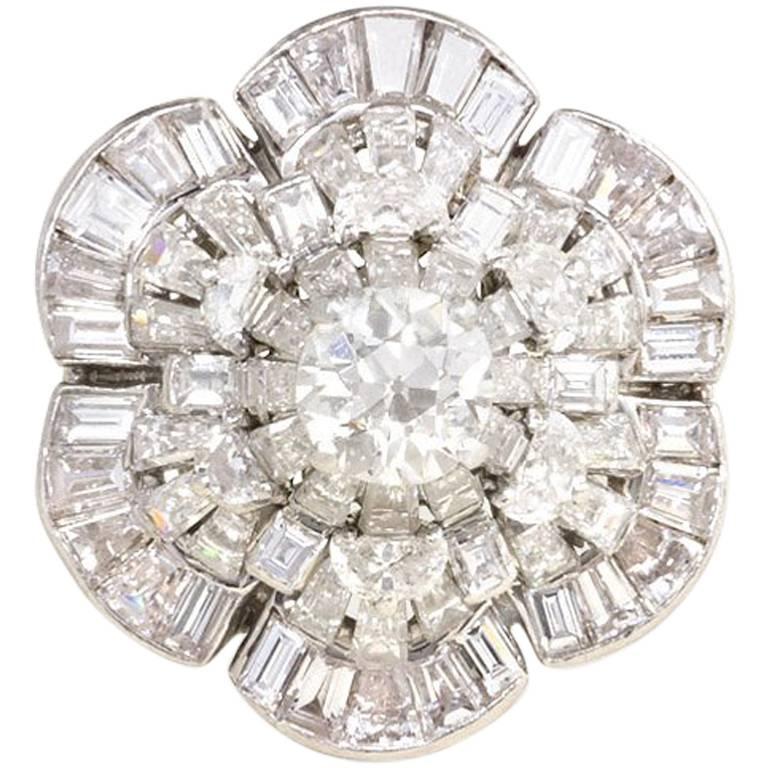 Oscar Heyman 1950s Diamond Stylized Flower Cocktail Ring in Platinum For Sale