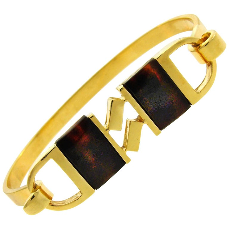 Cartier Tortoise Shell Yellow Gold Bangle Bracelet, 1970s