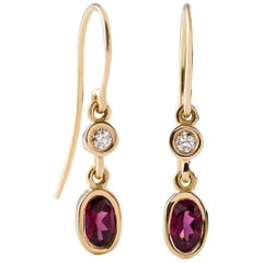 Kian Design 18 Carat Yellow Gold Oval Rhodolite Garnet and Diamond Earrings