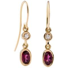 Kian Design 18 Carat White Gold Rhodolite Garnet and Diamond Earrings