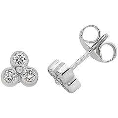 White Gold Trefoil Diamond Stud Earrings