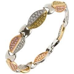 Fancy Three-Tone Gold Bracelet