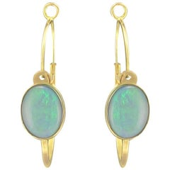 New Baume 3.20 Carats Cabochon Opal Hoop Gold Earrings