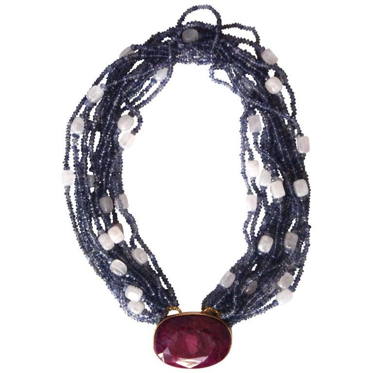 Ruby Tanzanite Rose Quartz Gold Necklace