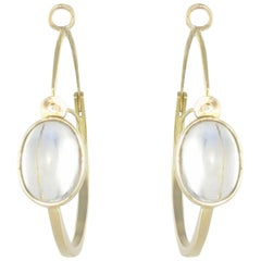 New 4.15 Carat Cabochon Moonstones Gold Hoop Earrings