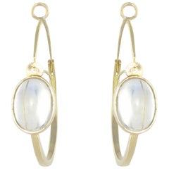 New 4.15 Carat Cabochon Moonstones Gold Hoop Earrings