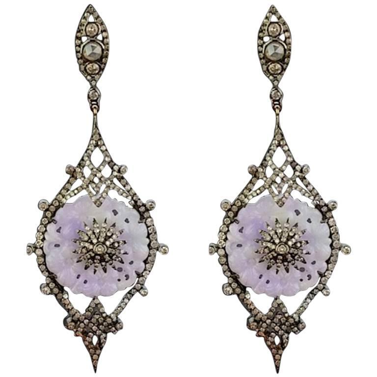 Carved Purple Jade and Diamond Dangling Earring
