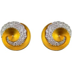 18K Yellow Gold and Diamond Stud Earring