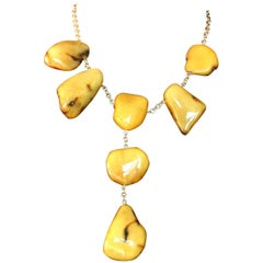 Amber Stone Gold Necklace