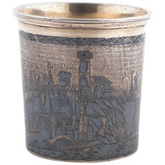 19th Century Russian Silver-Gilt and Niello Beaker