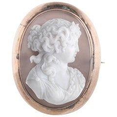 Agate Cameo Brooch Depicting Classical Female Figure Mounted in Rose Gold