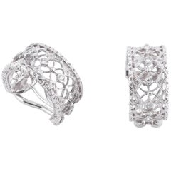 Buccellati White Gold and Studs Diamonds Band Earrings