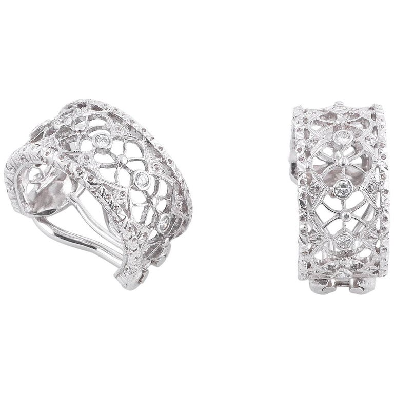 Buccellati White Gold and Studs Diamonds Band Earrings