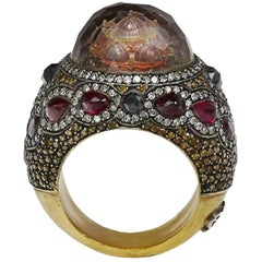 Sevan, A Carved Diamond, Ruby, Quartz, Gold and Silver Cocktail Ring