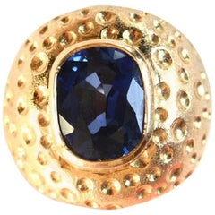 Blue Sapphire Dome cocktail Ring Gold