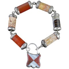 Antique Victorian Scottish Agate Padlock Bracelet, circa 1860