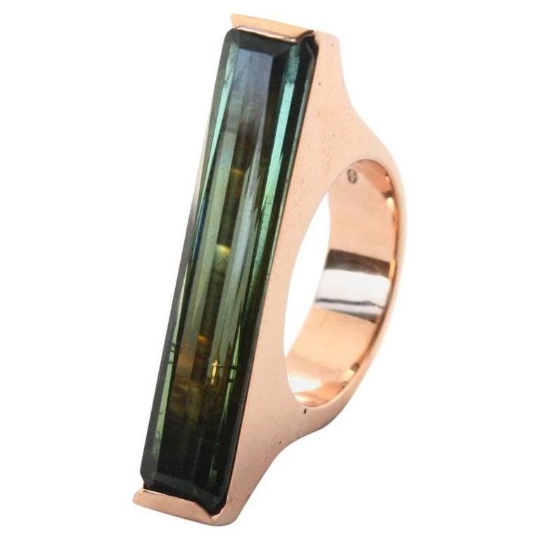 Green Tourmaline Baguette Rose Gold  Ring