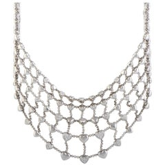 Chopard Diamond Pave Multiple Hearts White Gold Bib Necklace