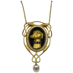 Retro Art Nouveau-style Diamond, Pearl, Agate and Enamel Dog Pendant/Necklace