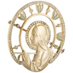 Masriera Diamonds and Yellow Gold Praying Woman Brooch