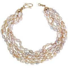 Fünfreihige Süßwasserperlen Halskette