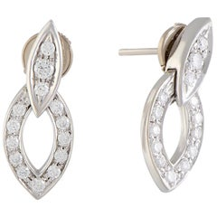 Full Diamond Pave White Gold Dangle Earrings