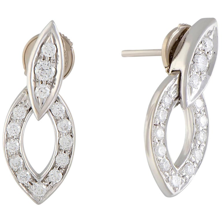 Full Diamond Pave White Gold Dangle Earrings