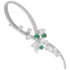 Diamond and Emerald White Gold Loop Brooch