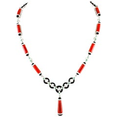 Coral Diamond Emerald White Onyx Gold Necklace